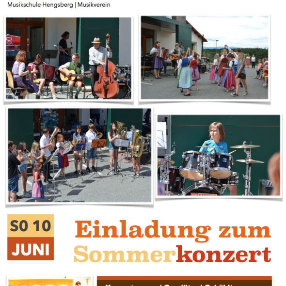 Musikverein Hengsberg Sommerkonzert der Musikschule Flyer 2018